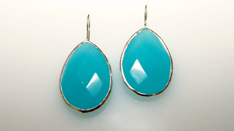Turquoise with Silver Border Drop Earrings