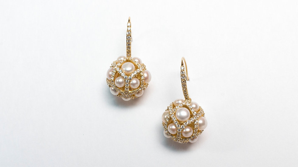 Diamonesque Pave and Pearl Sphere Earrings gold pair