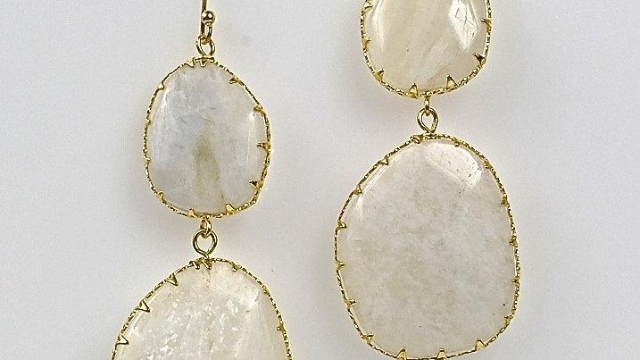 White Moon DBL Drop Earrings