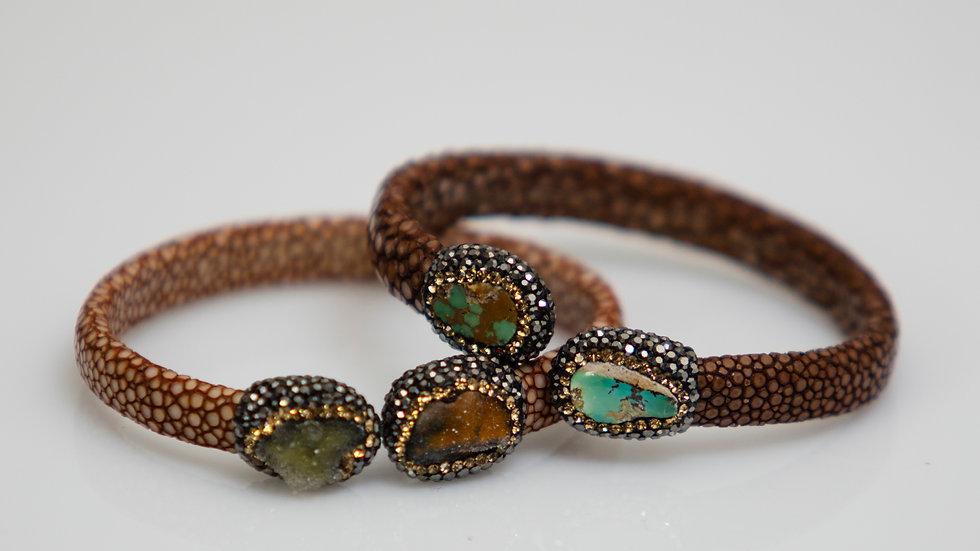 Leather & Druzy Stone Bracelet variation