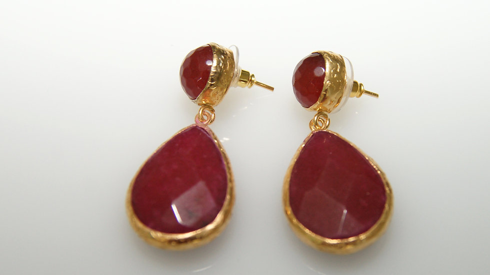 Rubellite Drop Earrings with Post