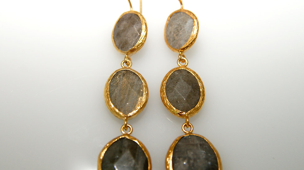 Grey Quartz 3 Drop Earrings 1