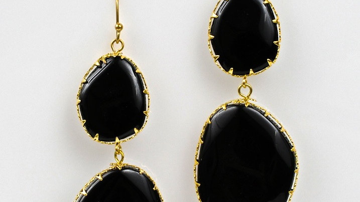 Large Black Jade Drop Earring