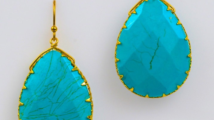 Turquoise Drop Ear,Gold Border