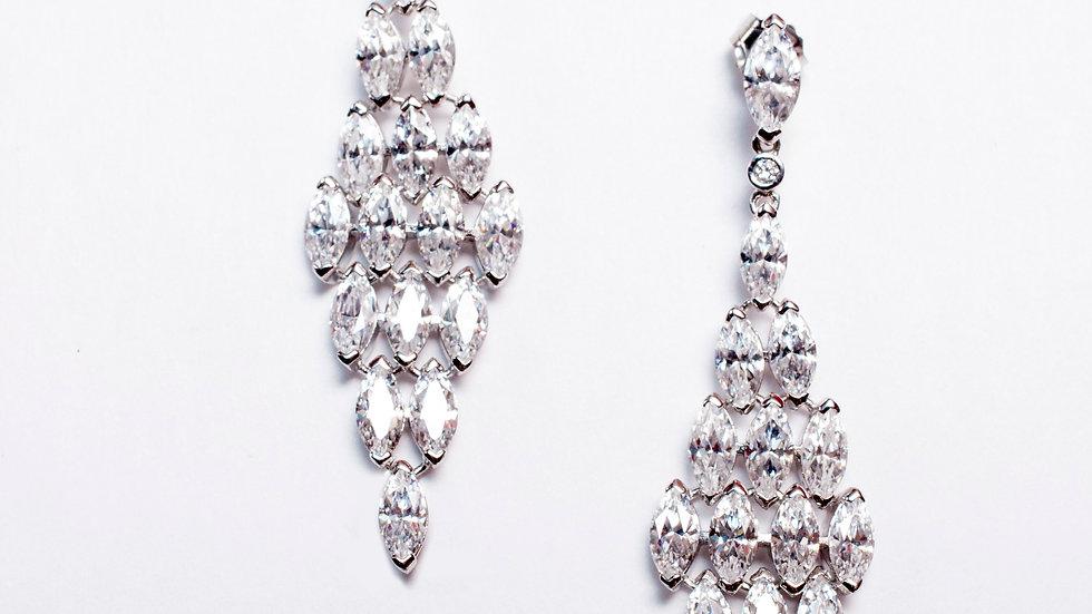 CZ Silver Drop Earrings pair