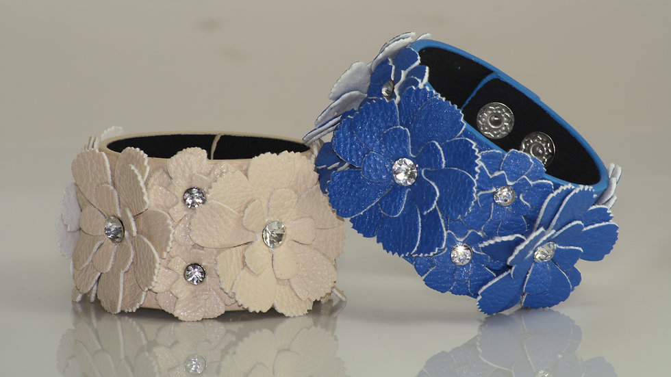 Leather Flower Detail Bracelet White and Blue