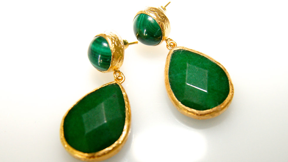 Emerald Drop Earrings with Post