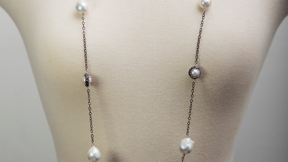 8 SS Pearl Druzy Silver Chain