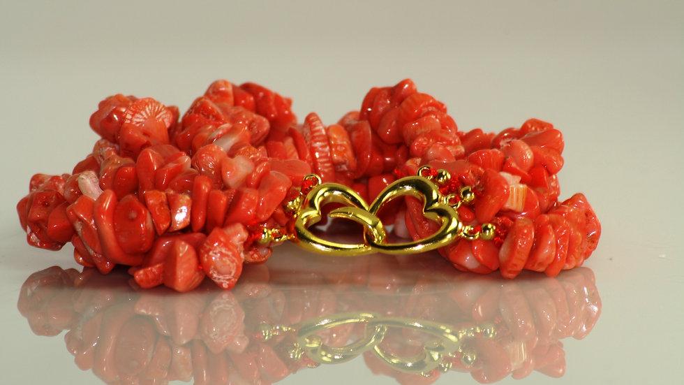 Coral Bracelet heart clasp