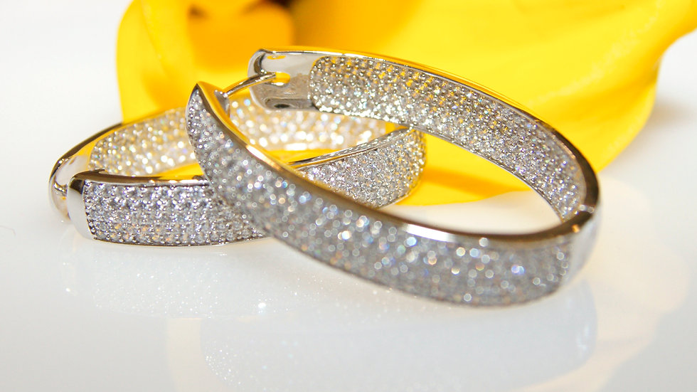 Diamonesque Micro Pave Hoops