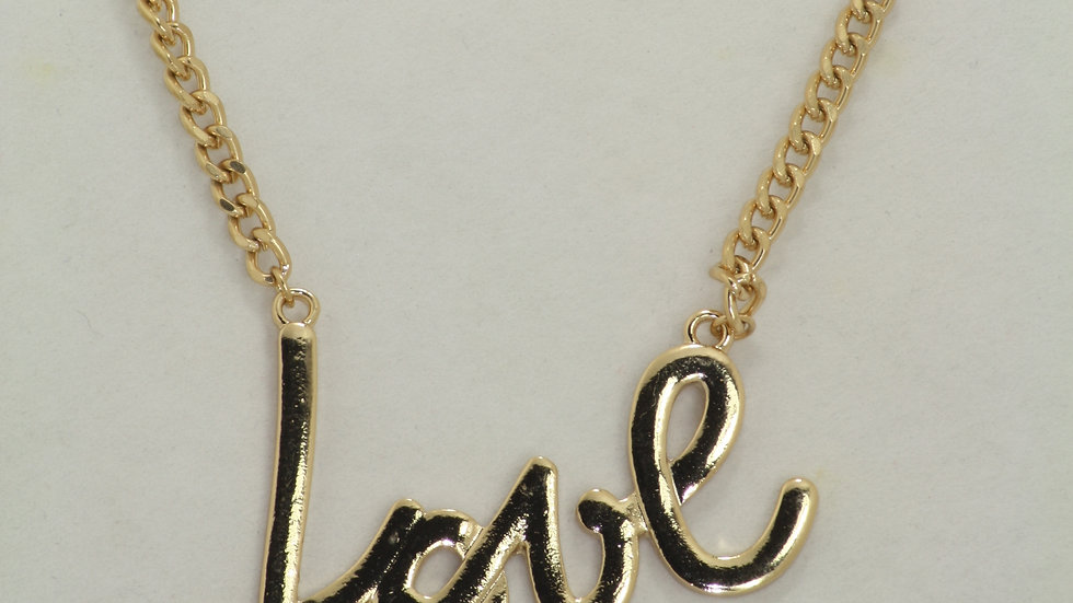"""Love"" Name Plate Necklace"
