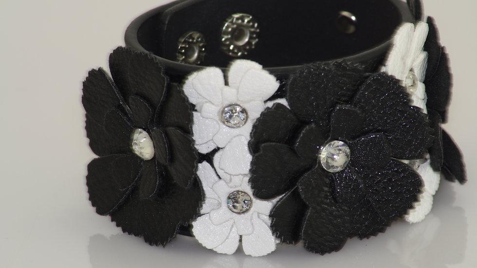 Leather Flower Bracelet Black and White