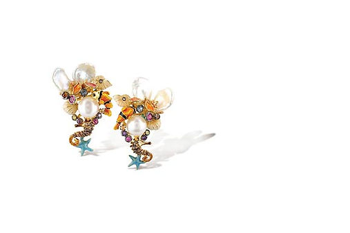 Italian Sea Life Clip Earrings