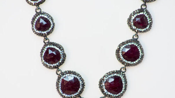 Ruby Druzy 9 Stone Necklace