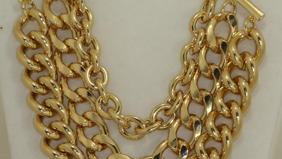Triple Row Chain Link Necklace