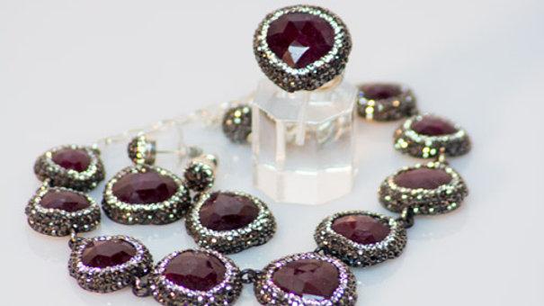 Teardrop Druzy Ruby Ring set