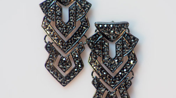 Art Deco Drop Earring with Crystal