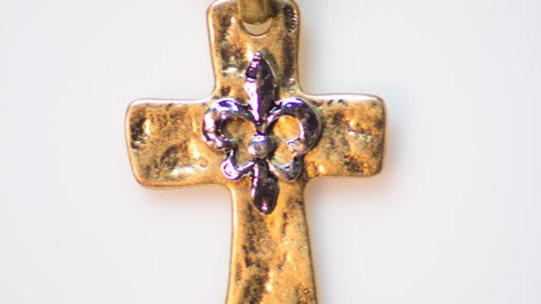 Gold Cross with Antique Fleur De Lis zoom