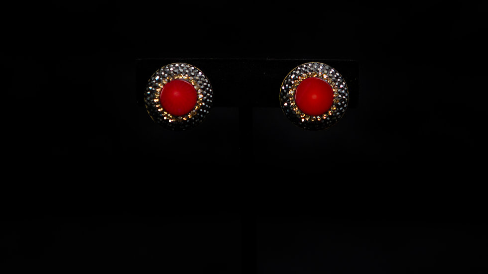 Red Agate Druzy Clip Earring