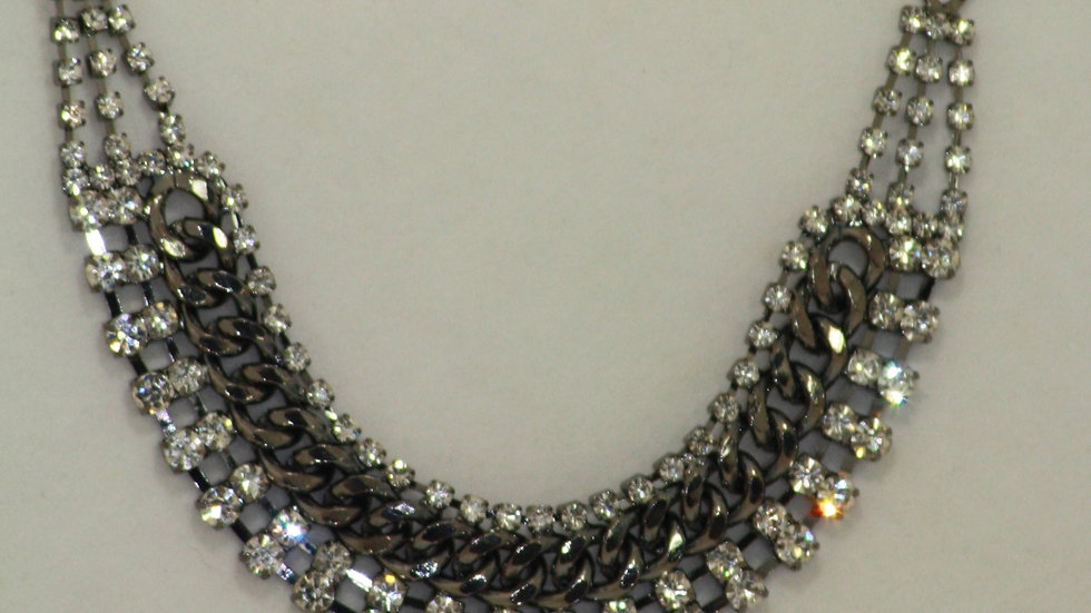 Hematite Necklace With Crystal