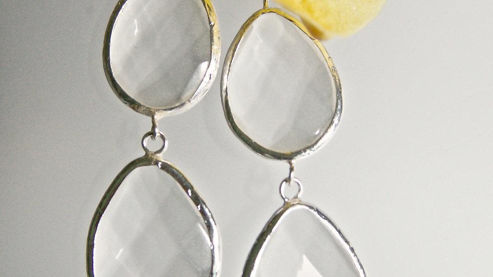 Clear Faceted 3 Drop Earrings