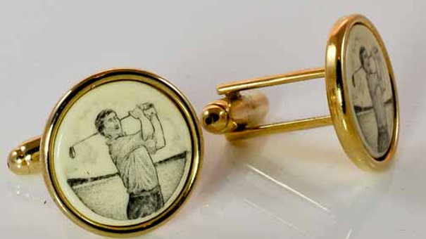 Golfer Scrimshaw Cufflinks side