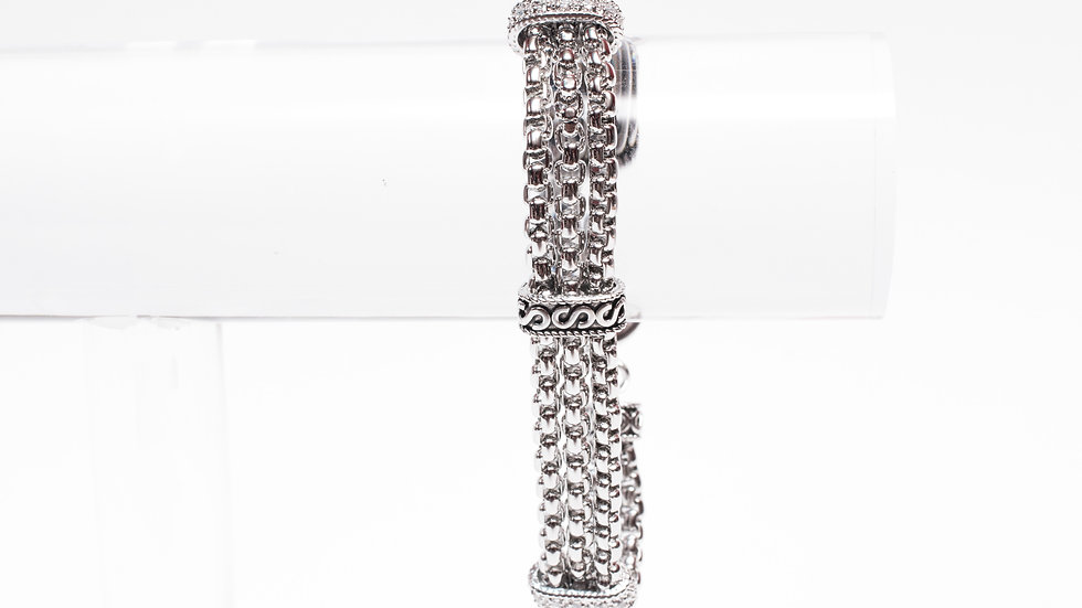 3 Chain Linked Silver CZ Bracelet