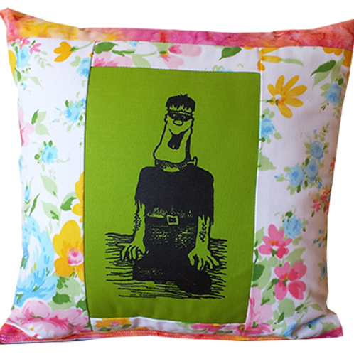 """Frankenstein Pillow, Model 3 """"Happy, happy creature"""""""