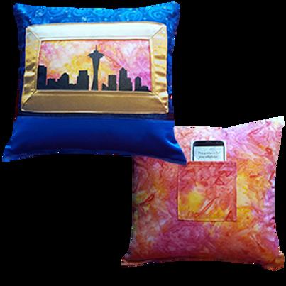 Seattle Sunrise pillow, Batik back