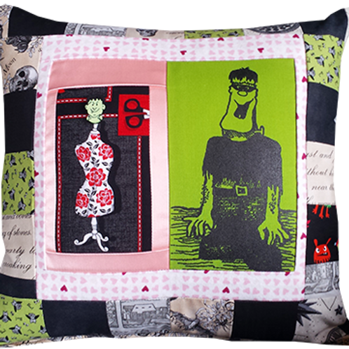 """Frankenstein Pillow, Model 2 """"Scary Thoughts"""""""