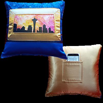 Seattle Sunrise Pillow, Gold Satin back