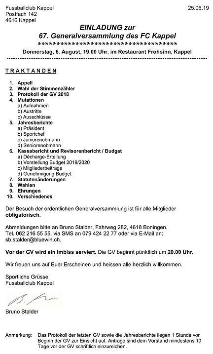 Einladung 67. Generalversammlung FC Kapp