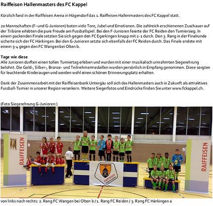 Zeitungsbericht Raiffeisen Hallenmaster 2015