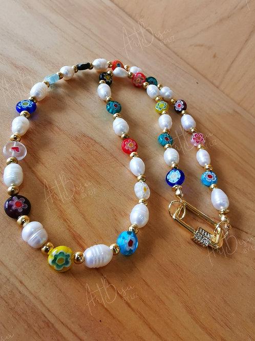 Collar perlas y muranos