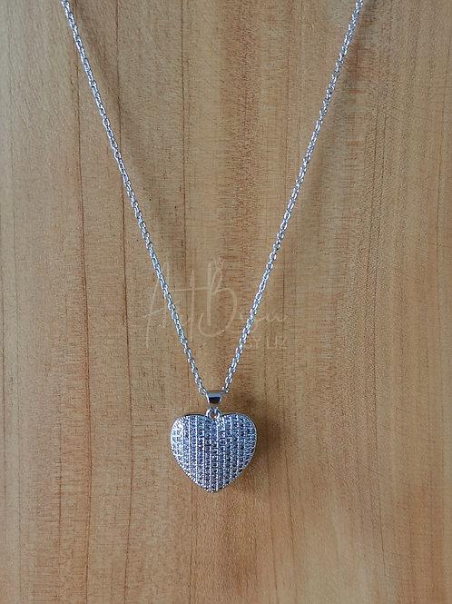 Collar largo corazón plata