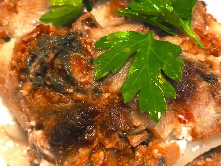 """Meaty"" Eggplant Lasagna & Shrimp Stuffed Peppers"