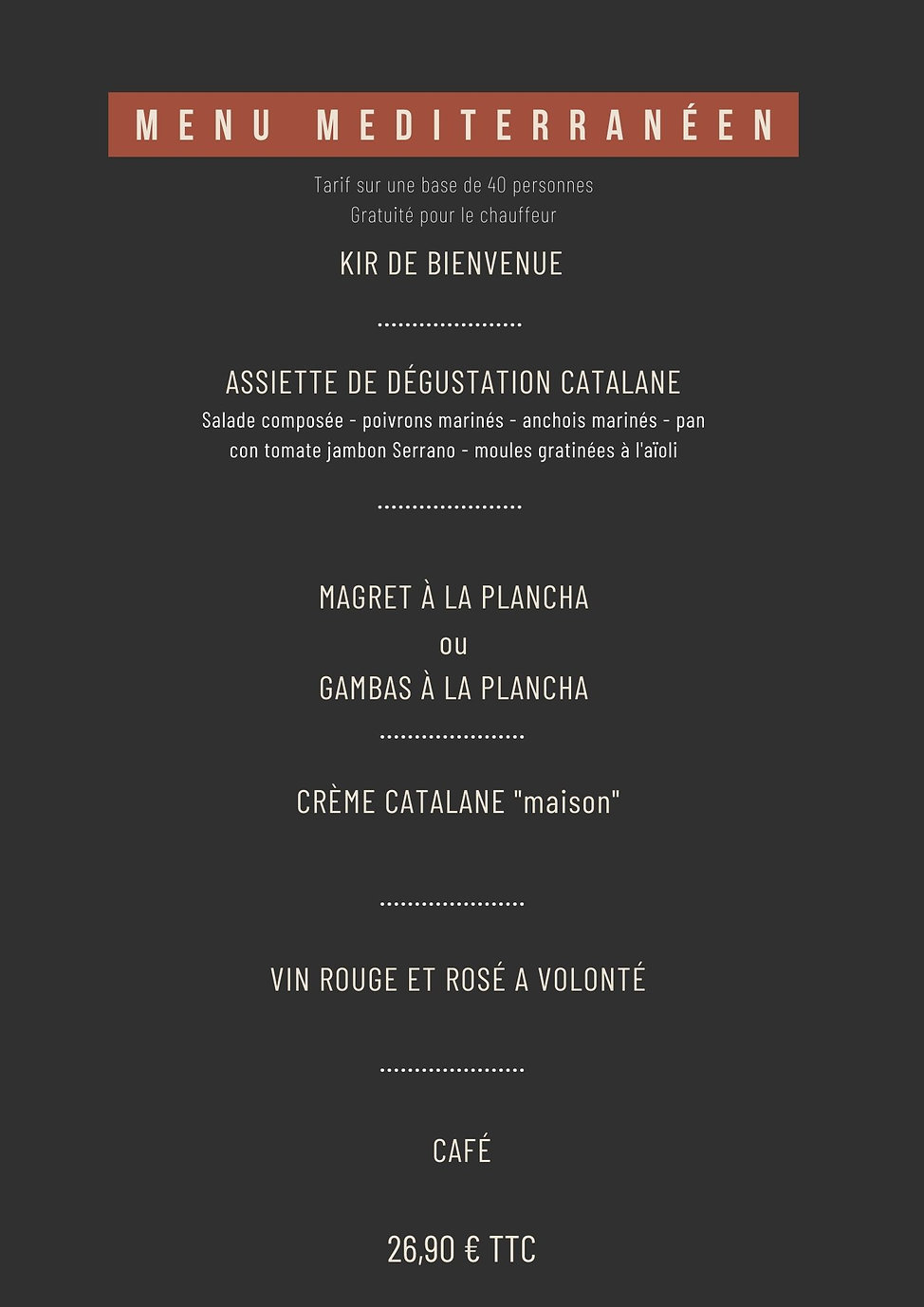 MENU GROUPE ASSOCIATION CLUB DU RESTAURA