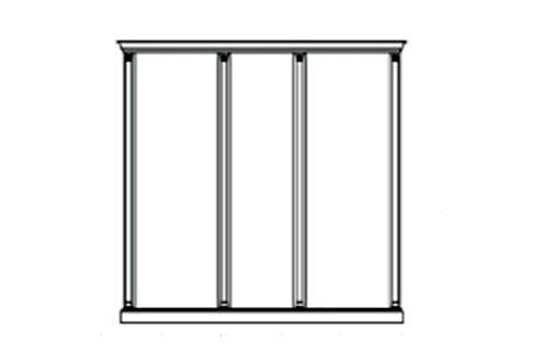 Комплект карнизов для 3-х панелей - двух широких и узкой вишня Venezia