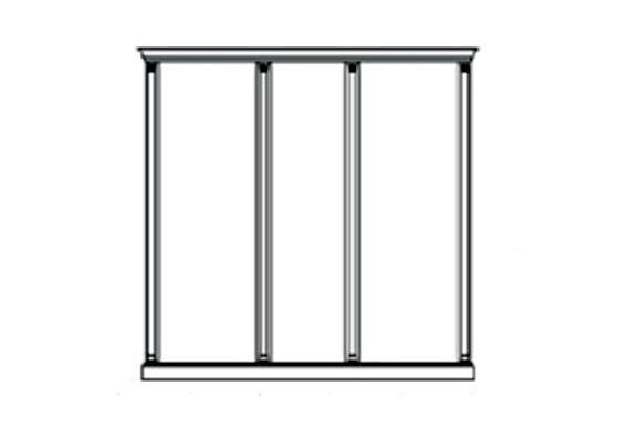 Комплект карнизов для 3-х панелей - двух широких и узкой Venezia белая
