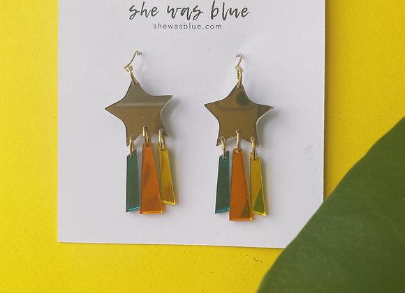 Rainbow Stars Earrings in Retro