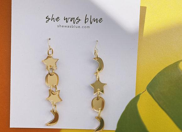 Sun, Moon and Stars Handmade Earring