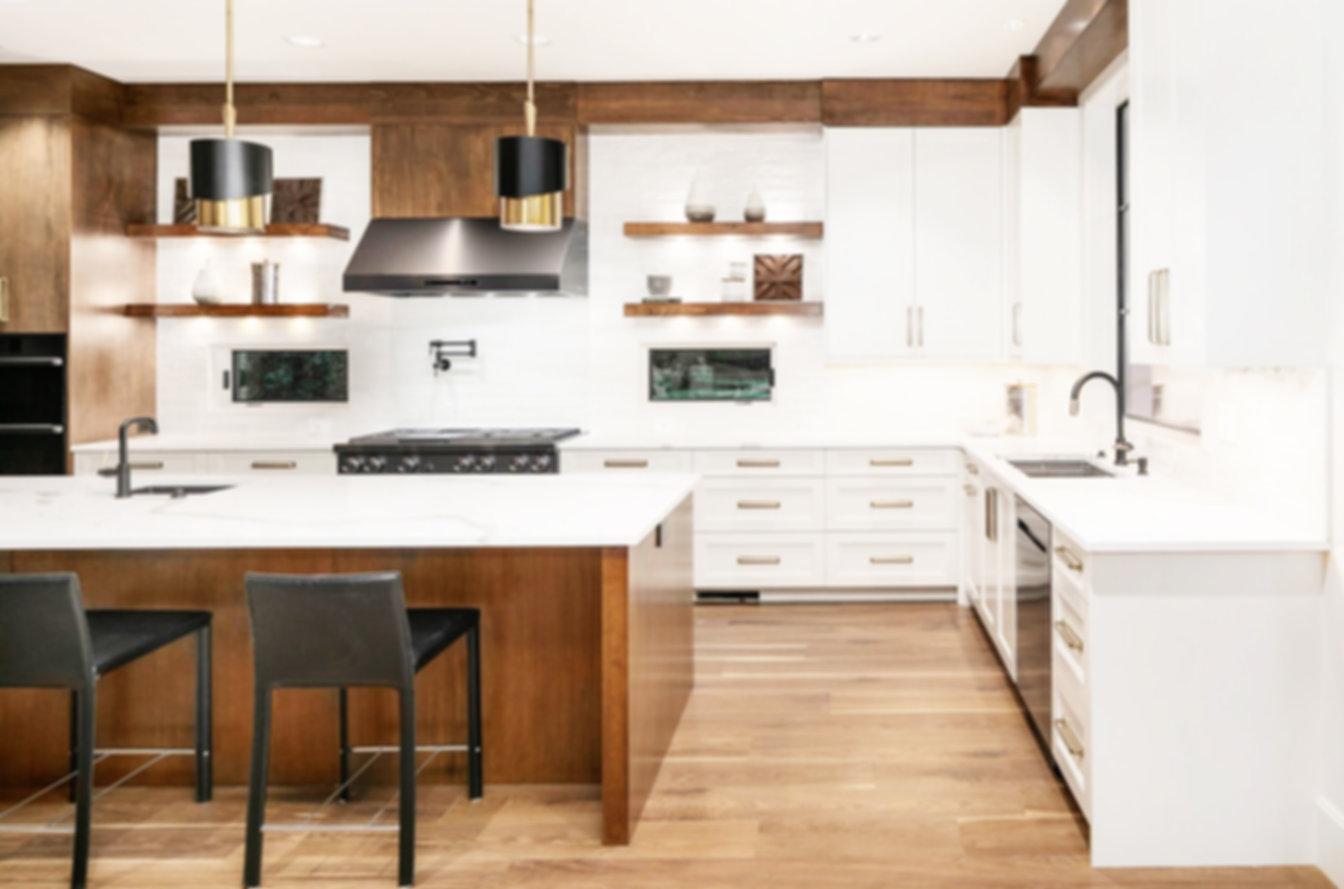 kitchen white subway backsplash wood cab