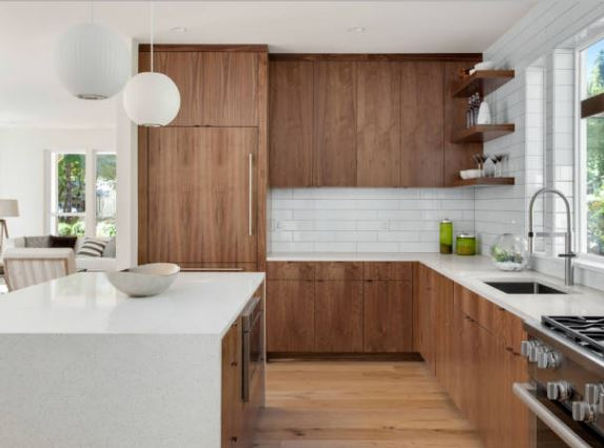 modern kitchen, modern wood kitchen, white countertops, subway tiles, tile backsplash, wood floor, modern wood kitchen