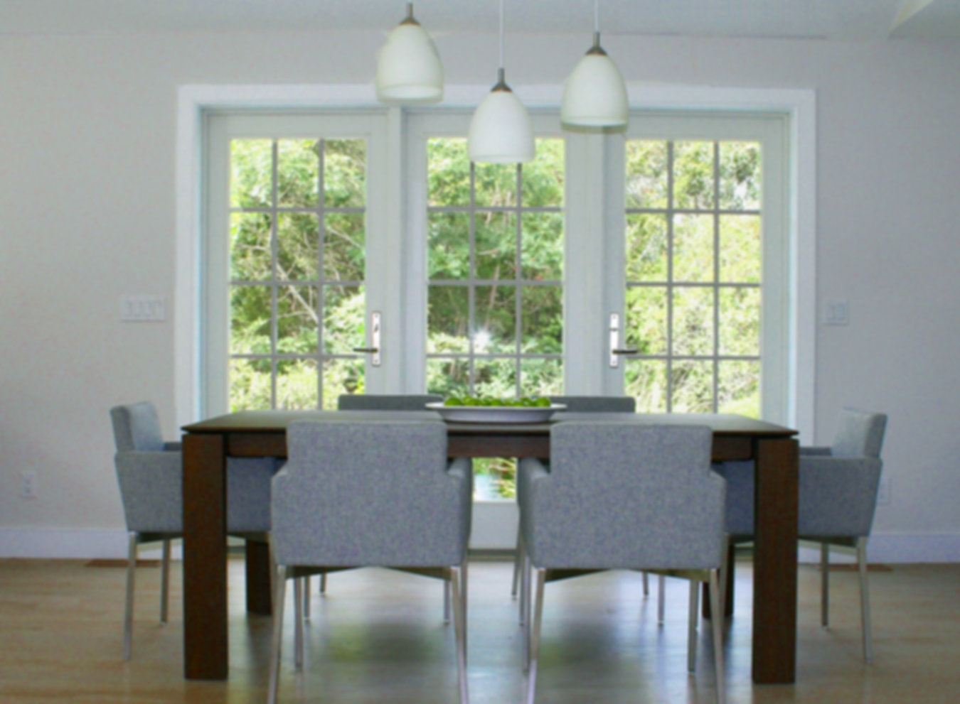 modern wood dining table, gray dining chairs, modern dinin chairs, white pendant fixture, gray pendant lighting, gray wood floor, French doors