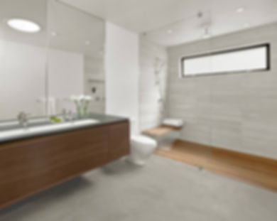 Modern bathroom, wall hung vanity, open curbless shower, wood shower floor, gray porcelain floor, gray wall tiles
