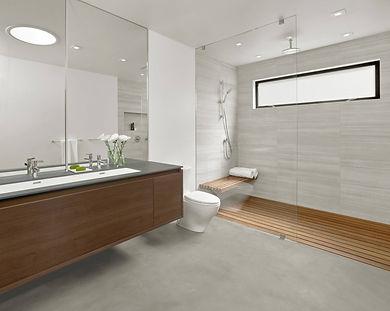 Modern bathroom, wall hung vanity, open curbless shower, wood shower floor, gray porcelain floor, gray wall tiles