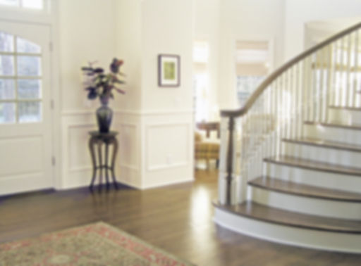 traditional foyer, traditional interior, curved stairway, white panel walls, oriental rug, dark wood floor