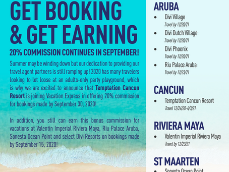 Vacation Express September Offer with 20% commissions