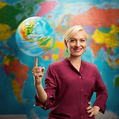 Travel agent woman with a globe against