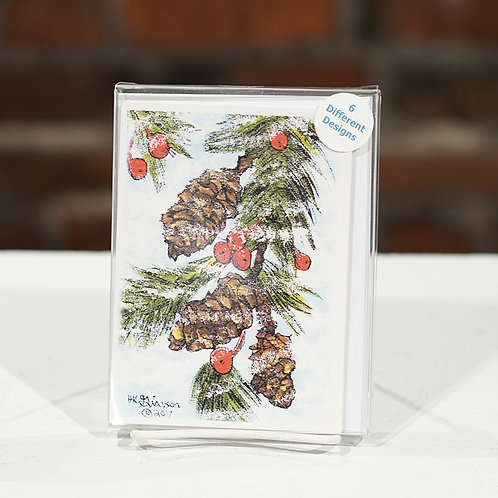 """Winter Pinecones"" boxed cards"